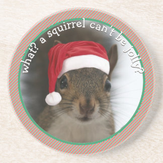 Fun Santa Squirrel Speaks Sarcasm Christmas Coaster