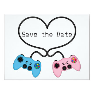 Fun Save the Date for Video Game Players 11 Cm X 14 Cm Invitation Card
