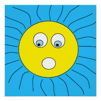 Fun Scared Expression Sun Face Drawing Blue Poster