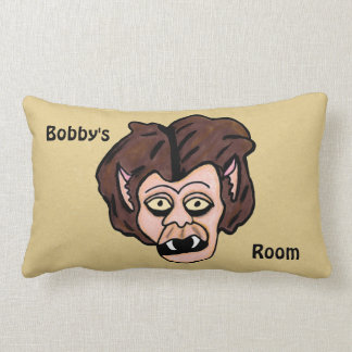 Fun Scary Cartoon Werewolf Fangs Brown Hair Lumbar Cushion