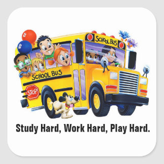 Fun School Bus Driver Party T Shirts Personalised Square Sticker