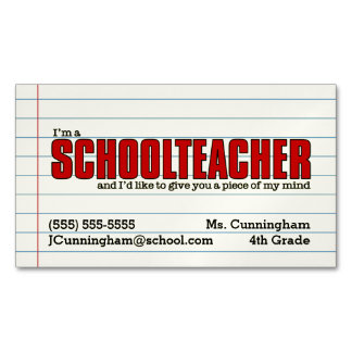 Fun Schoolteacher Magnetic Contact Card Magnetic Business Cards