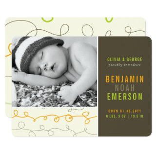 Fun Scribbles Baby Boy Photo Birth Announcement