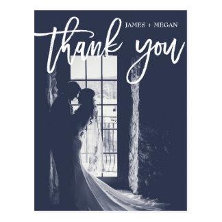 Fun Script Calligraphy Photo Wedding Thank You Postcard