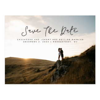 Fun script save the date photo postcard