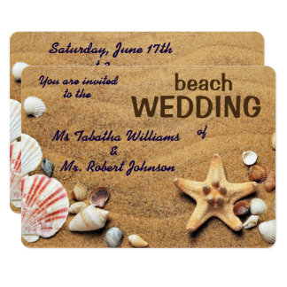 Fun Seashells Design Beach Wedding Invitation
