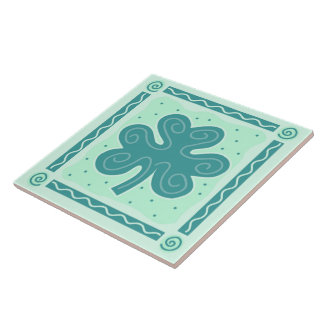 Fun Shamrock Ceramic Tile