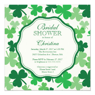 Fun Shamrock Irish Bridal Shower Invitation