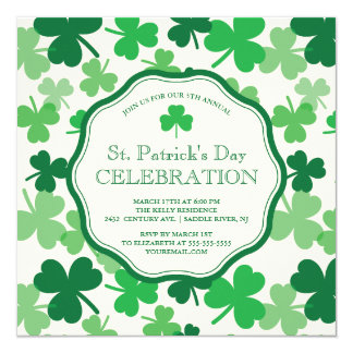 Fun Shamrock St. Patrick's Party Invitation