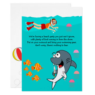 Fun Shark Beach Party Birthday Card