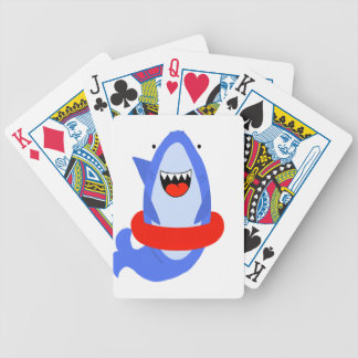 Fun Shark with Red Swim Ring Bicycle Playing Cards