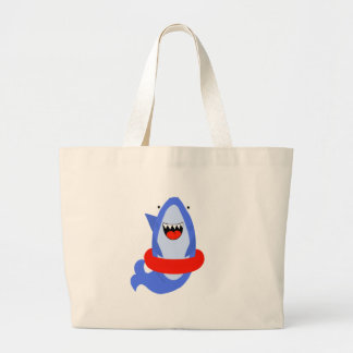 Fun Shark with Red Swim Ring Large Tote Bag