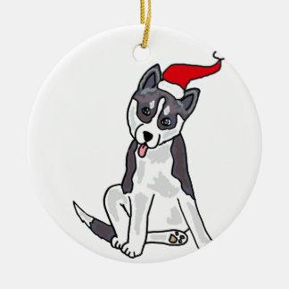 Fun Siberian Husky Christmas Art Round Ceramic Decoration