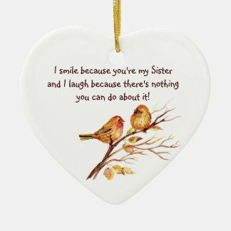Fun Sister Saying with Cute Birds Ceramic Heart Decoration