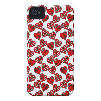 Fun Sketchy Hearts Pattern iPhone 4 Cases