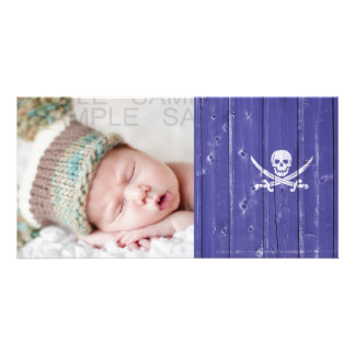 Fun skull cross swords on blue wood panel printed photo card template