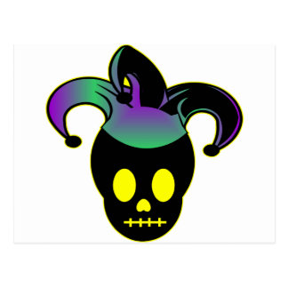 Fun Skull Jester Tattoo Postcard