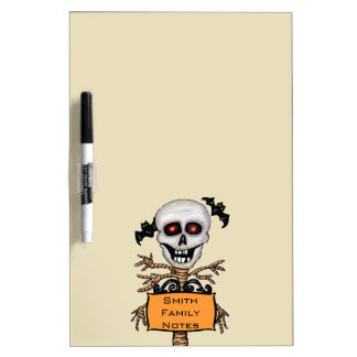 Fun Skull With Tree Body Personalized Orange Sign Dry Erase Board