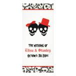 Fun skulls Halloween red wedding program Rack Card