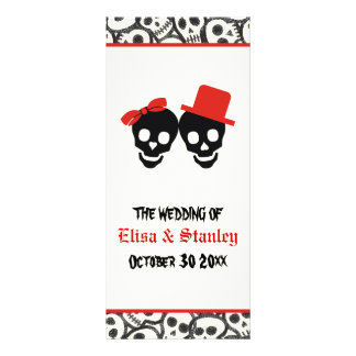 Fun skulls Halloween red wedding program Rack Card