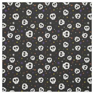 Fun Skulls Print Fabric, Black Fabric