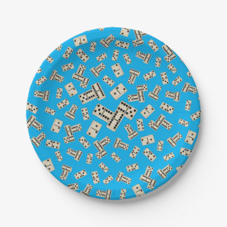 Fun sky blue dominos paper plate