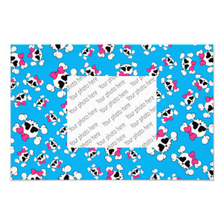 Fun sky blue skulls and bows pattern photograph
