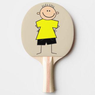 Fun Smiley Boy Stick Figure Ping Pong Paddle