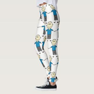 Fun Smiley Stick Boy Pattern Leggings