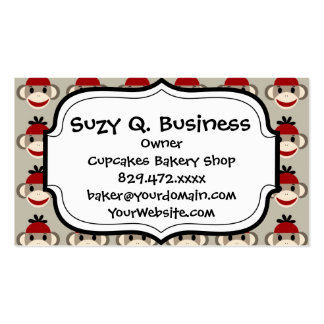 Fun Smiling Red Sock Monkey Happy Patterns Pack Of Standard Business Cards