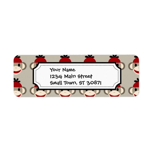 Fun Smiling Red Sock Monkey Happy Patterns Return Address Label