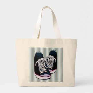 Fun Sneakers Blue White Stripe Jumbo Tote Bag