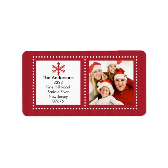 Fun Snowflake Holiday PHOTO Return Address Label