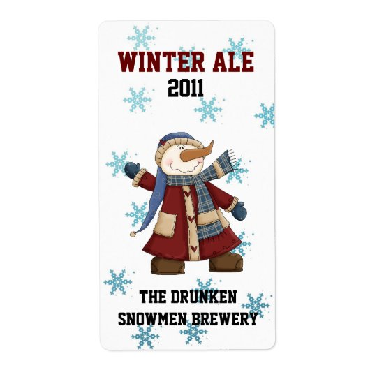 Fun Snowman Custom Winter Beer Labels