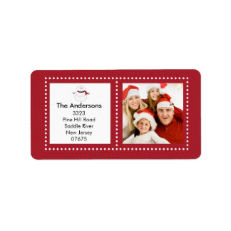 Fun Snowman Holiday PHOTO Return Address Label