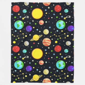 Fun Space Pattern Fleece Blanket