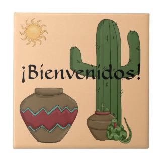Fun Spanish Welcome Southwestern Desert Scene Ceramic Tile