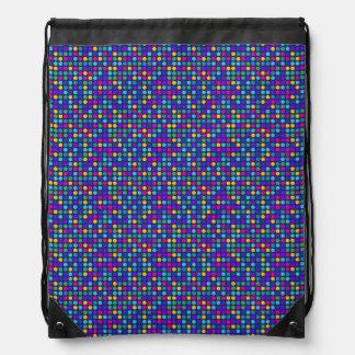 Fun sparkling blue small colorful dots drawstring bag