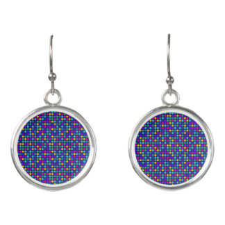Fun sparkling blue small colorful dots earrings