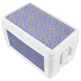 Fun sparkling blue small colorful dots ice chest