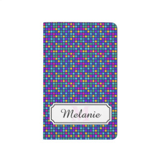 Fun sparkling blue small colorful dots journal