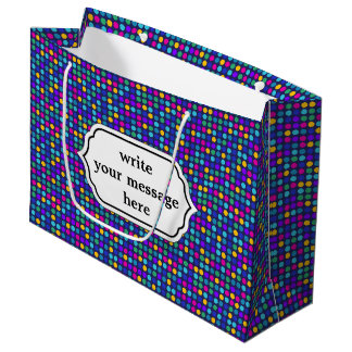 Fun sparkling blue small colorful dots large gift bag