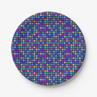Fun sparkling blue small colorful dots paper plate