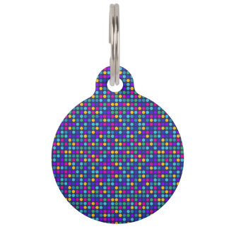 Fun sparkling blue small colorful dots pet tag