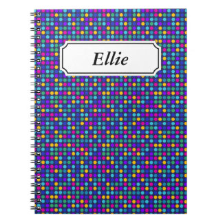 Fun sparkling blue small colorful dots spiral notebook