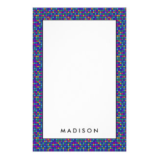 Fun sparkling blue small colorful dots stationery
