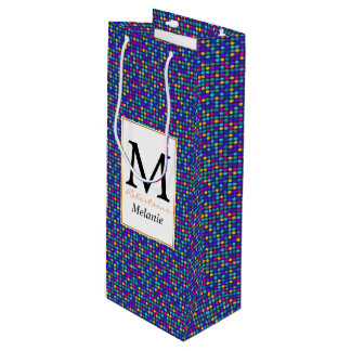 Fun sparkling blue small colorful dots wine gift bag
