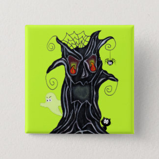 Fun Spooky Black Tree Flame Eyes ghost Cat Spider 15 Cm Square Badge