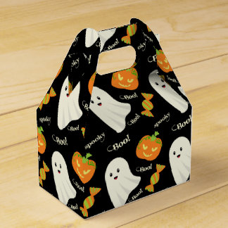 Fun Spooky Halloween Ghost Pumpkin Candy Pattern Favour Box