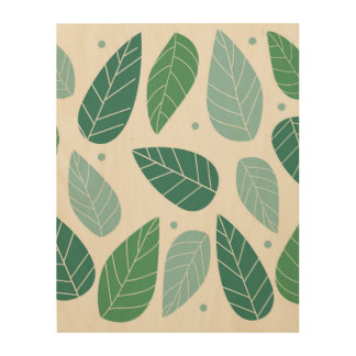 Fun Spring Leaves Wood Canvas